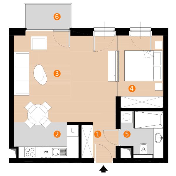 mieszkanie 47,5 m kw.