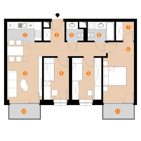 mieszkanie 67,8 m kw.